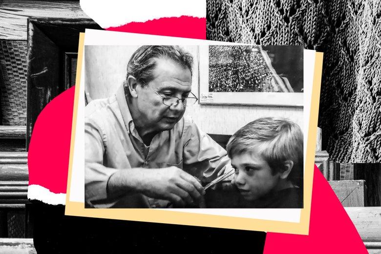 Pasquale cutting his grandson's hair.
