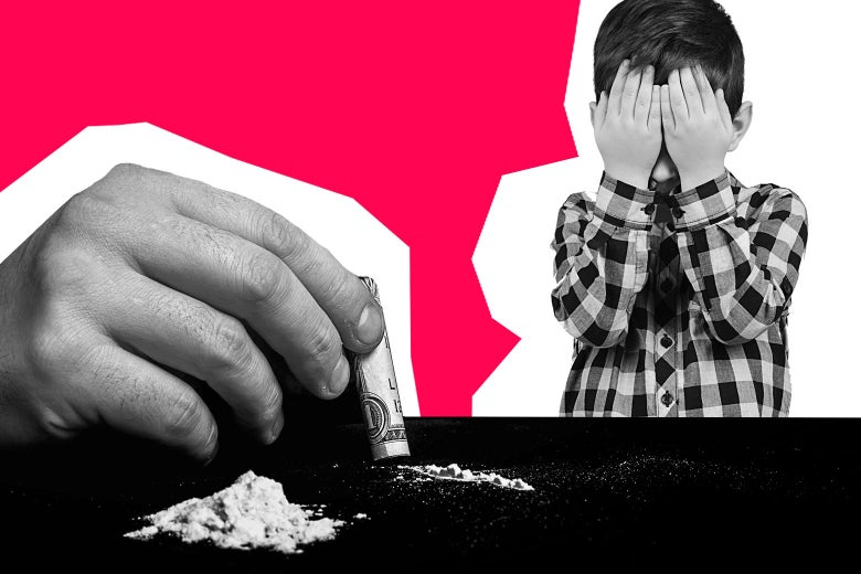 A hand holding a rolled up bill preparing to snort ketamine and a young boy covering his face.
