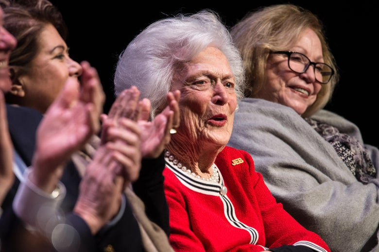 GREENVILLE, SC - FEBRUARY 19: Former first lady Mrs. Barbara Bush listens to her son, Republican presidential candidate Jeb Bush, at a campaign event  February 19, 2016 in Greenville, South Carolina. The South Carolina Republican primary will be held Saturday, February 20. (Photo by Sean Rayford/Getty Images)