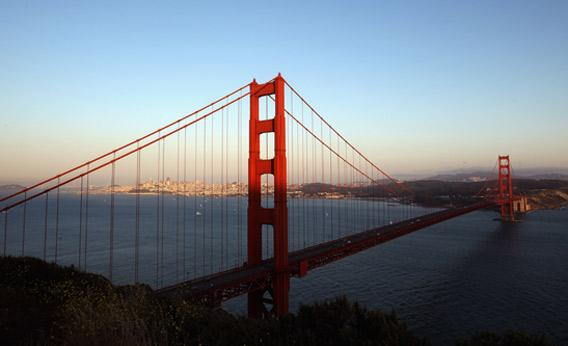 A view of the Golden Gate Bridge from the Marin Headlands in San Francisco, California.
