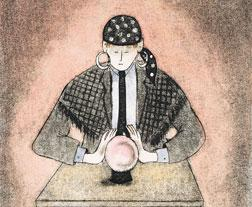 Illustration of a person looking in a crystal ball by Digital Vision/Getty Images.