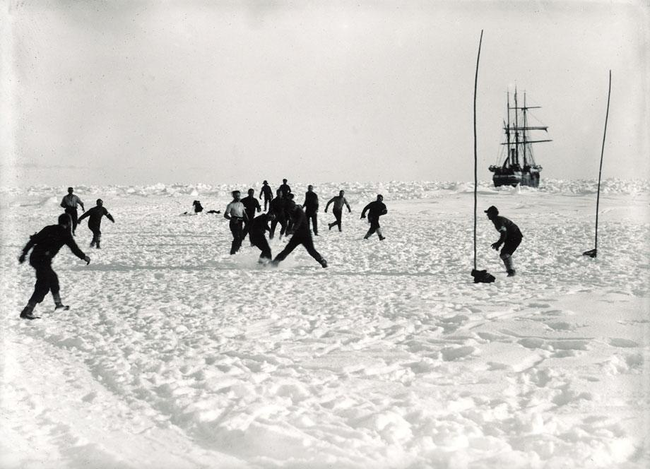 Shackleton's Antarctic Expedition, Ernest Shackleton, Frank Hurley, Antarctica, The Ralls Collection, football, soccer, game, Eleven-a-side