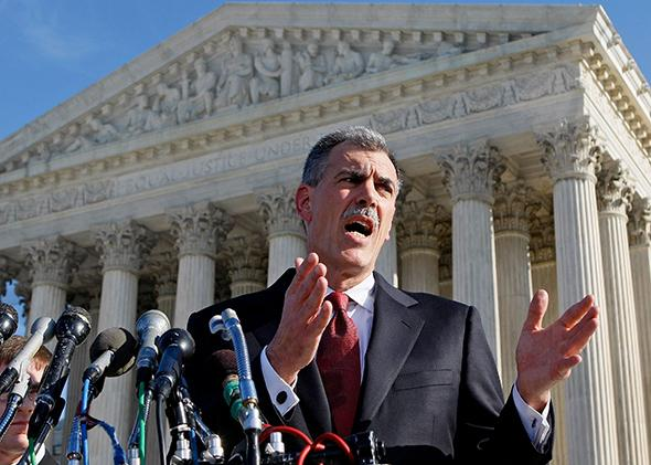 Donald Verrilli speaks in front of the U.S. Supreme Court in January 2007.