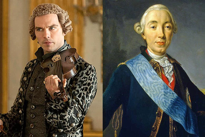 Nicholas Hoult as Peter III, side by side with a portrait of Peter III.