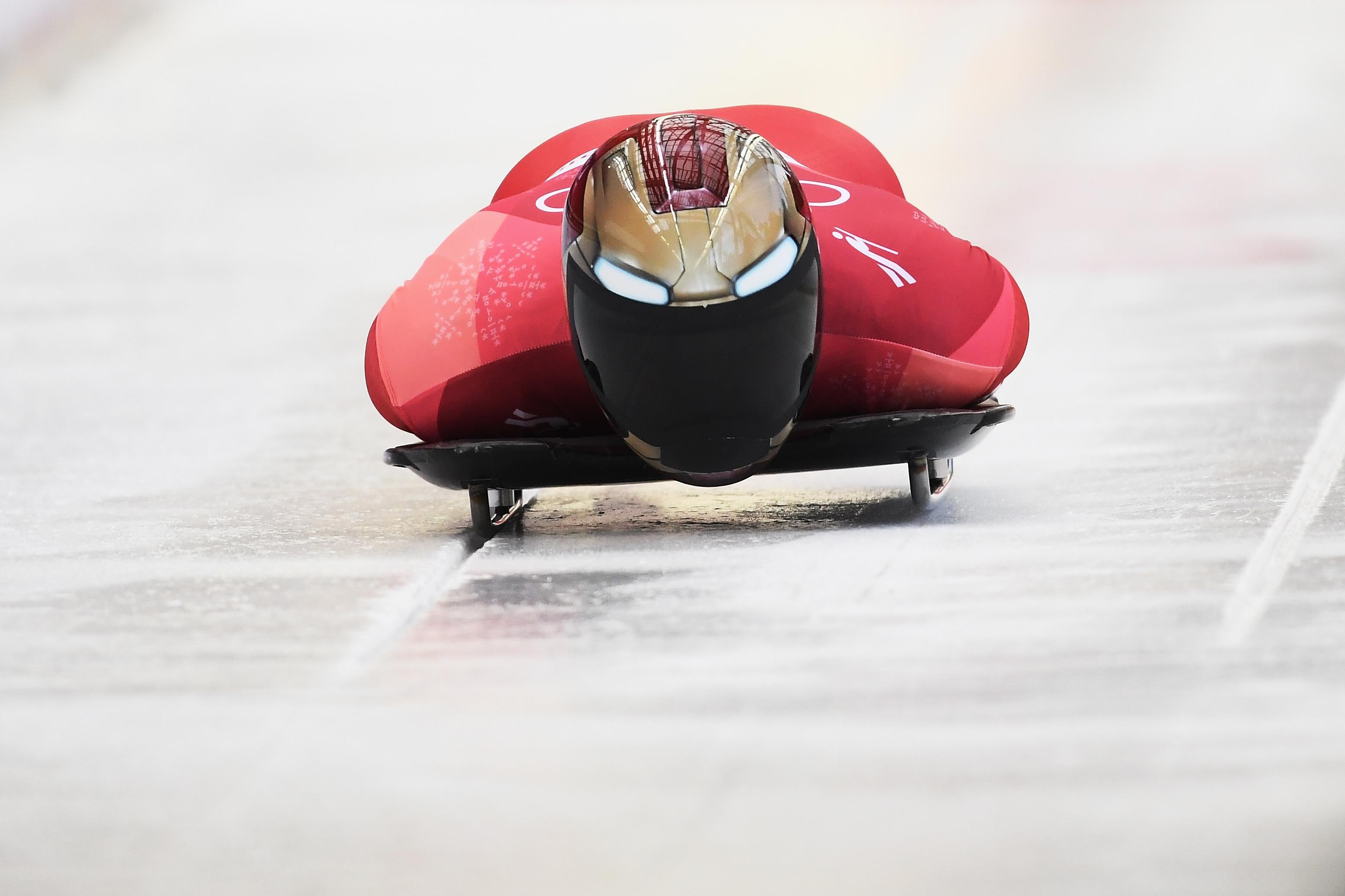 PYEONGCHANG-GUN, SOUTH KOREA - FEBRUARY 16:  Sungbin Yun of Korea slides on his way to winning the Men's Skeleton at Olympic Sliding Centre on February 16, 2018 in Pyeongchang-gun, South Korea.  (Photo by Quinn Rooney/Getty Images)