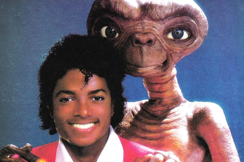 A photo of Michael Jackson and E.T. from the audiobook for E.T. the Extra-Terrestrial.