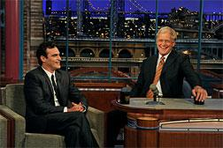 Joaquin Phoenix on The Late Show with David Letterman. Click image to expand.