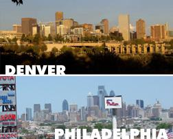 Skylines of Denver, CO and Philadelphia, PA. Click image to expand.