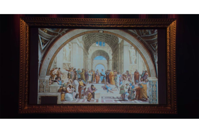 A close-up of Hannah Gadsby's projection screen from Douglas, showing Raphael's The School of Athens.