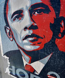 """Shepard Fairey's """"Hope"""" poster. Click image to expand."""