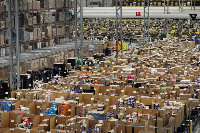 PETERBOROUGH, ENGLAND - NOVEMBER 15:  Parcels are processed and prepared for dispatch at Amazon's fulfillment centre on November 15, 2016 in Peterborough, England. In the lead up to Christmas, Amazon is experiencing the busiest time of the year.  (Photo by Dan Kitwood/Getty Images)