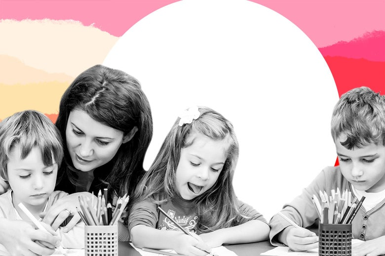 Three kids work on drawings with a mom.