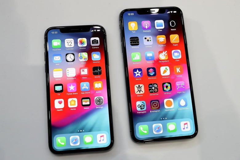 The new Apple iPhone Xs and iPhone Xs Max are displayed during an Apple special event at the Steve Jobs Theatre on September 12, 2018 in Cupertino, California.  Apple released three new versions of the iPhone and an update Apple Watch.