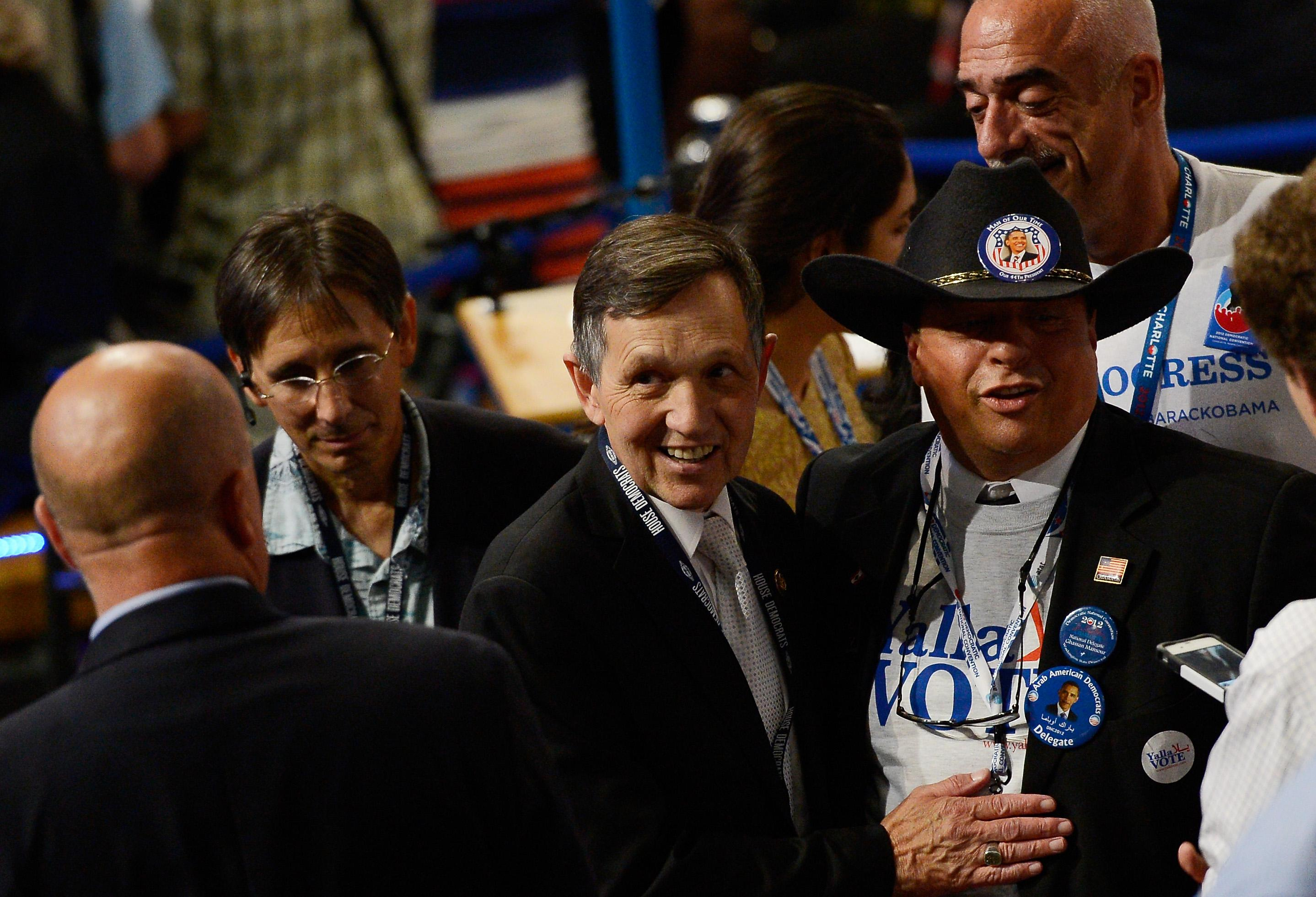 CHARLOTTE, NC - SEPTEMBER 05:  U.S. Rep. Dennis Kucinich (D-OH) meets with with Gus Mansour (R)during day two of the Democratic National Convention at Time Warner Cable Arena on September 5, 2012 in Charlotte, North Carolina. The DNC that will run through September 7, will nominate U.S. President Barack Obama as the Democratic presidential candidate.  (Photo by Kevork Djansezian/Getty Images)