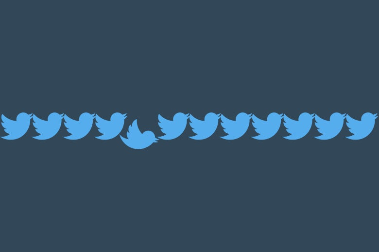 A broken chain of Twitter birds.