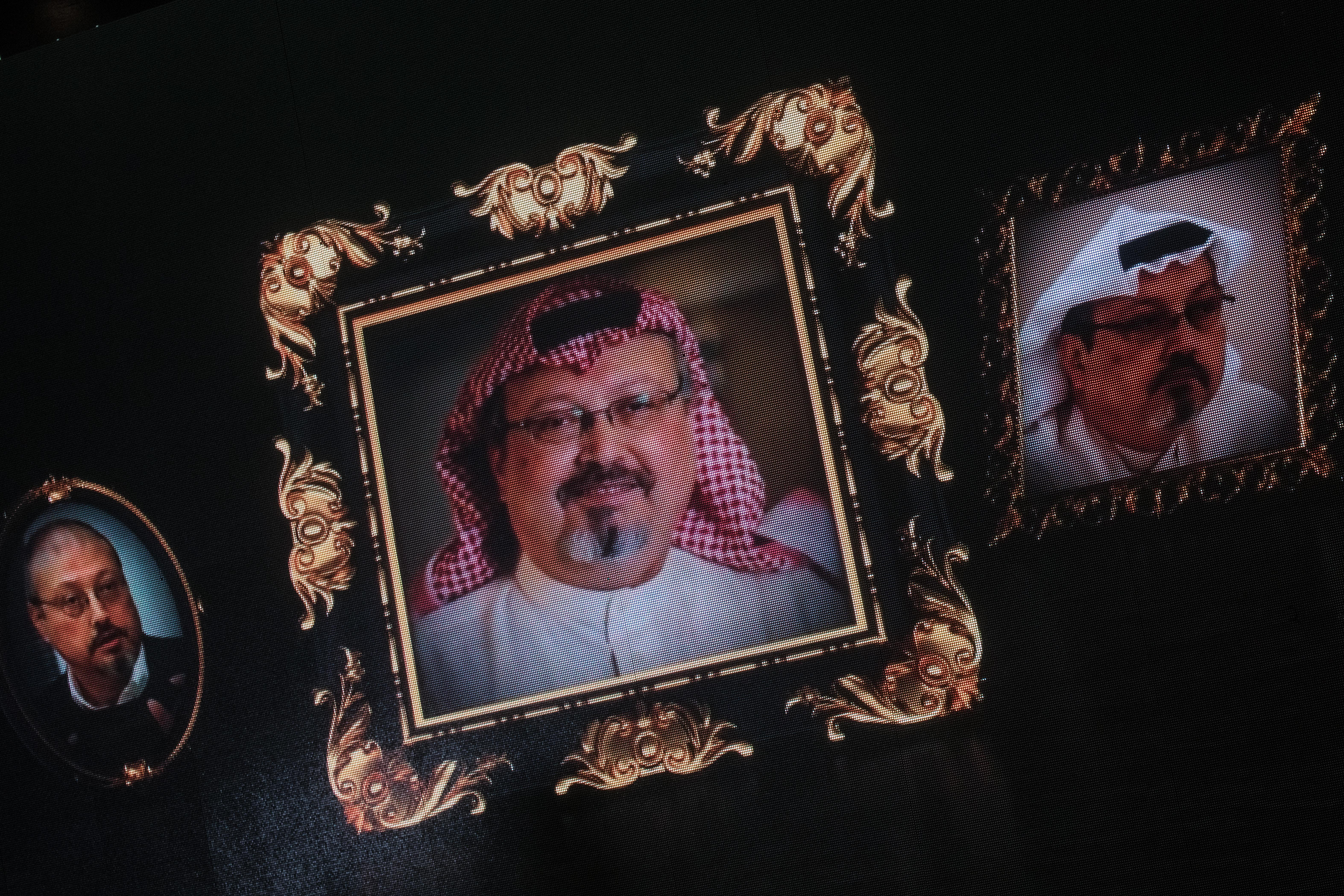 Pictures of Jamal Khashoggi projected on a screen in Turkey