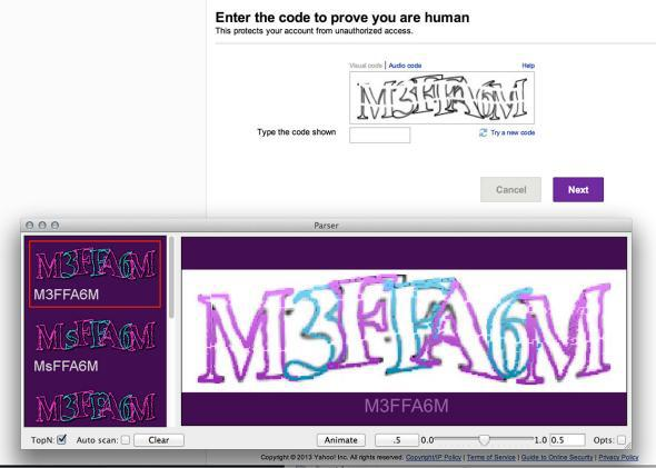 This screenshot shows Vicarious's software parsing a CAPTCHA used by Yahoo to differentiate humans from bots.