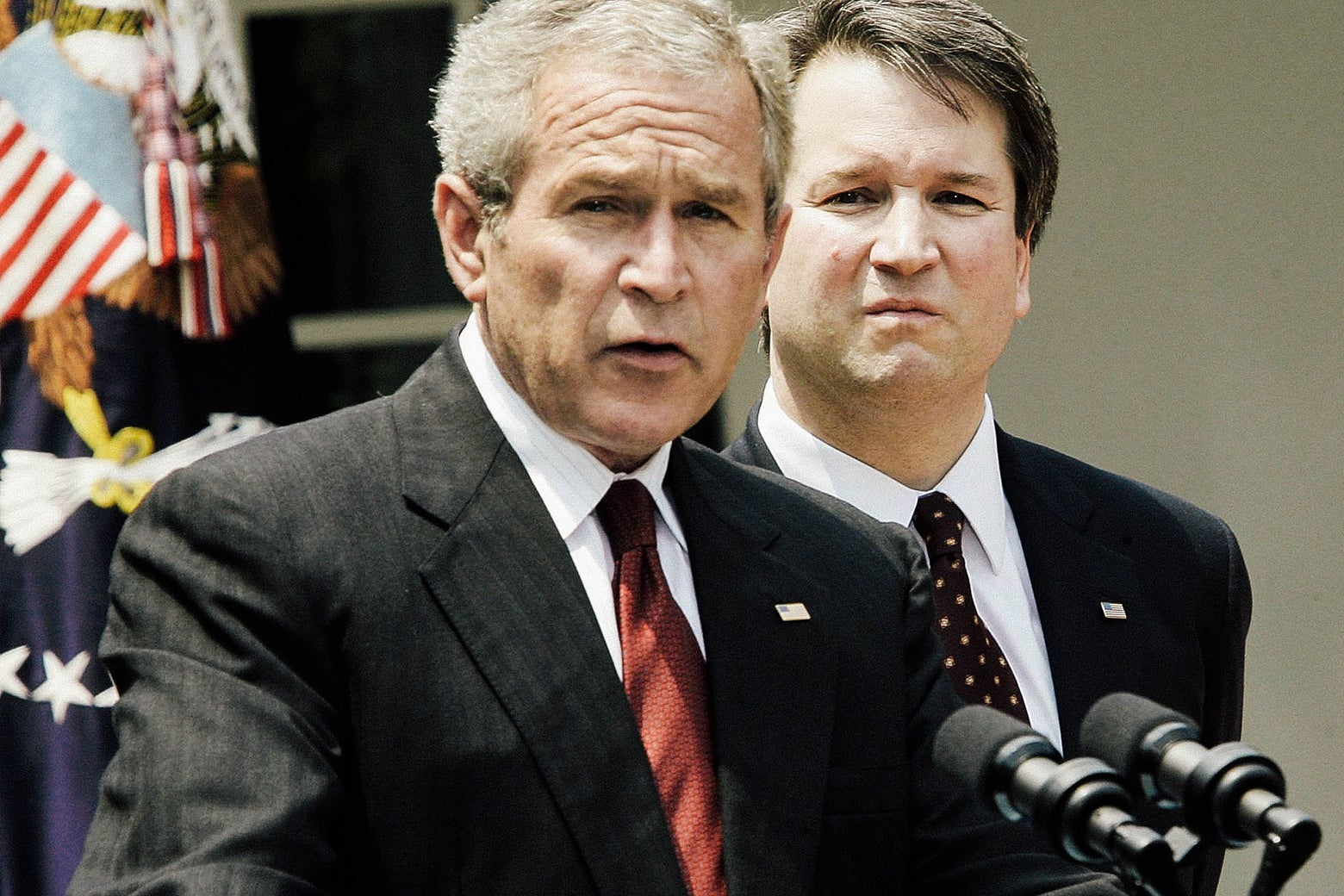 President George W. Bush speaks during the swearing-in ceremony for Brett Kavanaugh to be a judge to the U.S. Circuit Court of Appeals for the District of Columbia on June 1, 2006.
