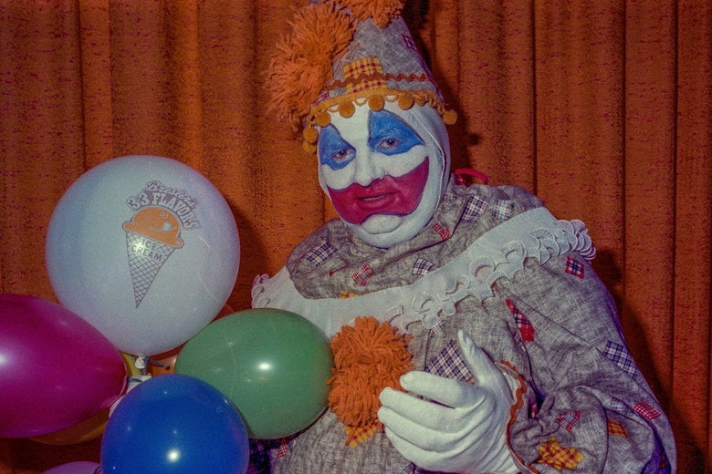 John Wayne Gacy, dressed as a clown.