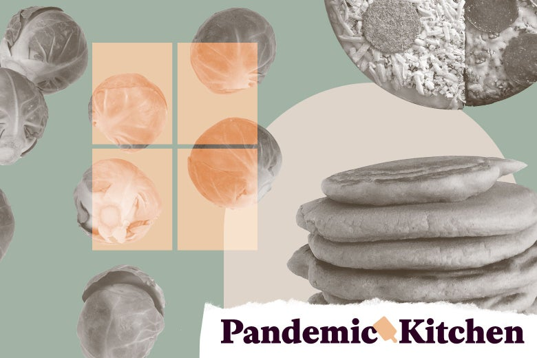 """A collage of Brussels sprouts, frozen pizza, and pancakes, with the outline of a window and a tag reading """"Pandemic Kitchen"""" both seen."""