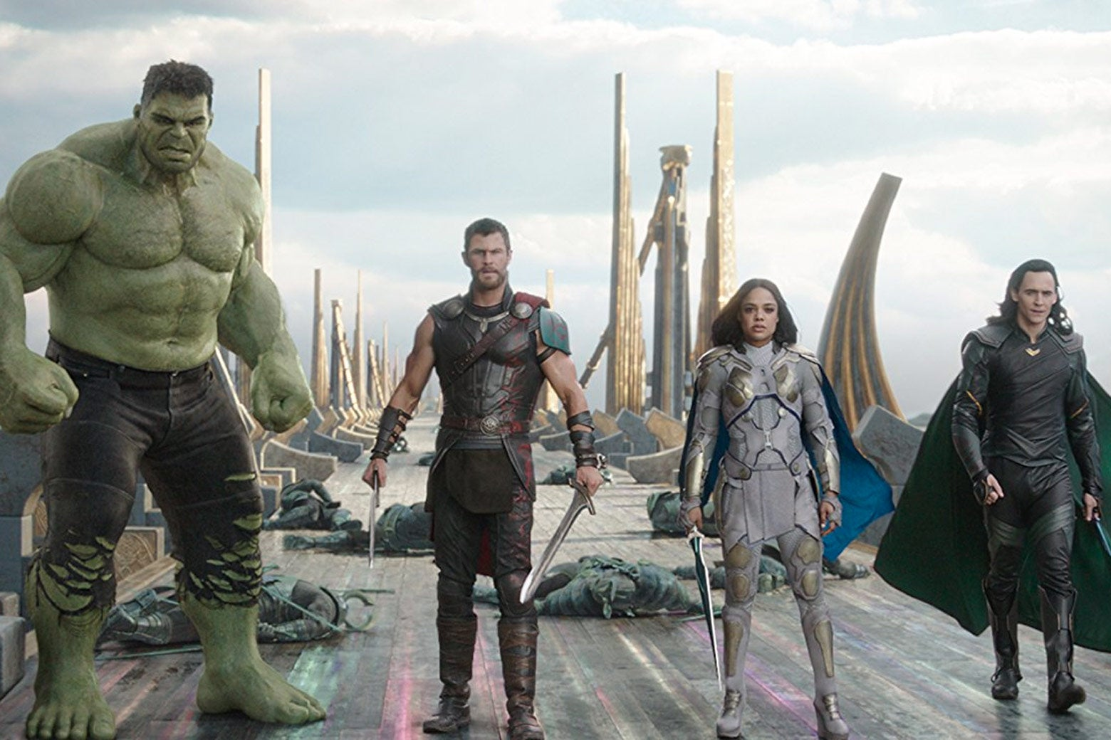 Mark Ruffalo, Chris Hemsworth, Tessa Thompson, and Tom Hiddleston in Thor: Ragnarok.