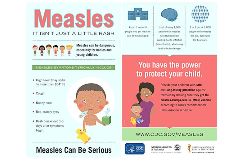 An infographic illustrating the seriousness of measles.