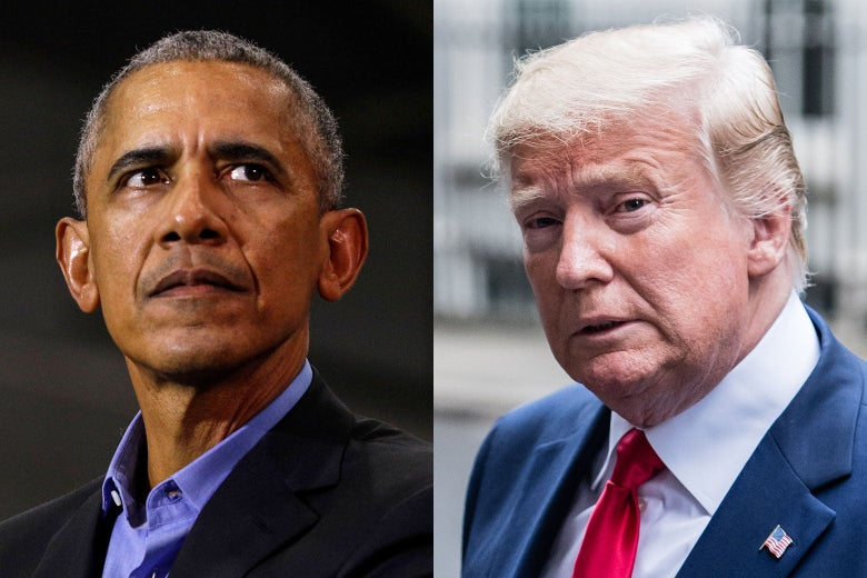 Photo side-by-side of former President Barack Obama and President Donald Trump