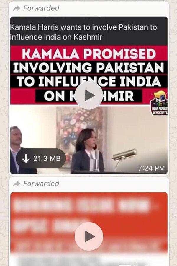 A screenshot of a WhatsApp chat containing a video of Kamala Harris