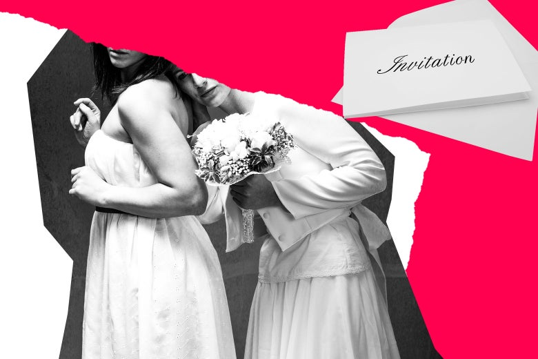 Photo illustration of a lesbian couple and a wedding invite.