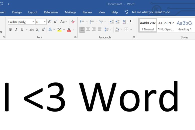 "A Microsoft Word document says ""I <3 Word."""