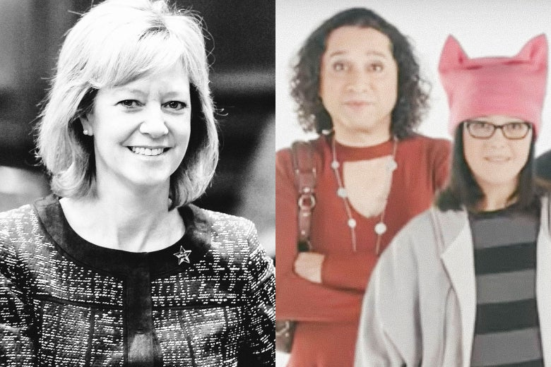 A split image with Rep. Jeanne Ives on the left and actors in her campaign ad on the right.