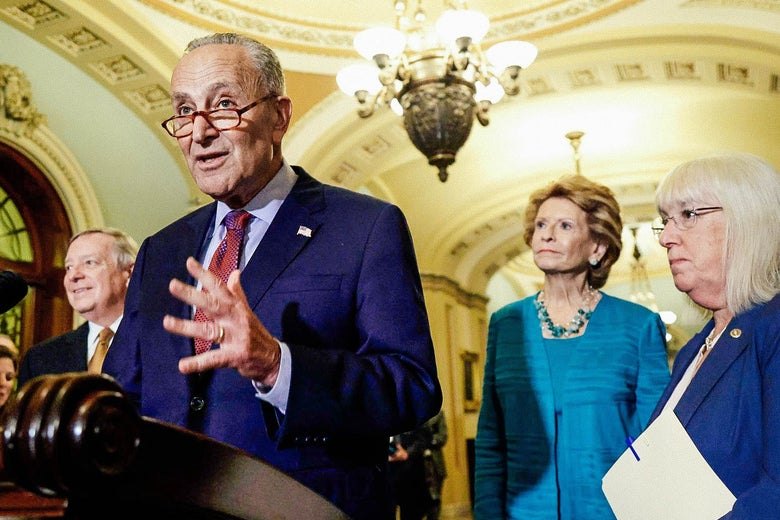 Senate Majority Leader Sen. Chuck Schumer speaks during a news briefing the U.S. Capitol, July 20, 2021 in Washington, DC.