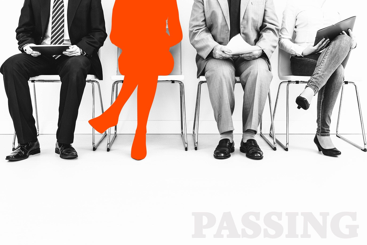 People waiting for a job interview, with one woman silhouetted out in orange.