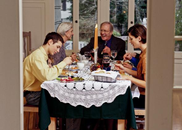 Family eating a meal.
