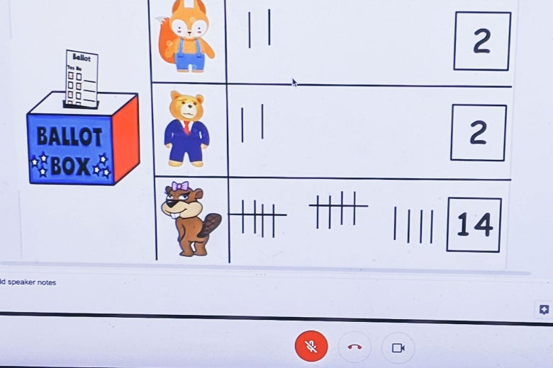 Screenshot of a virtual learning interface showing 14 tallied votes for the beaver and 2 each for the fox and bear