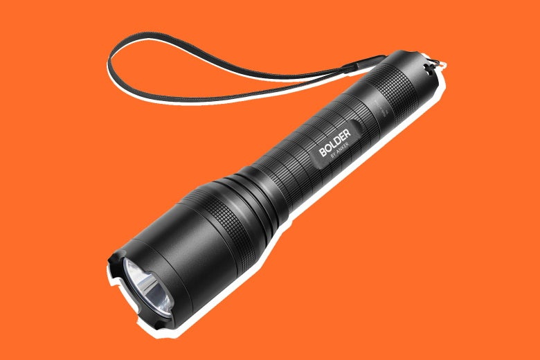 A black flashlight with a tassel silhouetted on an orange background.