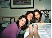 Amy, Lyssa and Kate with swollen tootsies