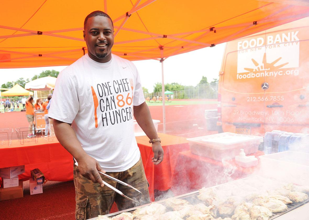 Food Bank For New York City kicks off EATWISE, it's summer nutrition awareness program for teens with NFL superstar and Food Bank ambassador Chris Canty at his Camp Of Champions attended by Food Bank For New York City Chief, Max Hardy at George Washington High School Field on June 29, 2015 in New York City.