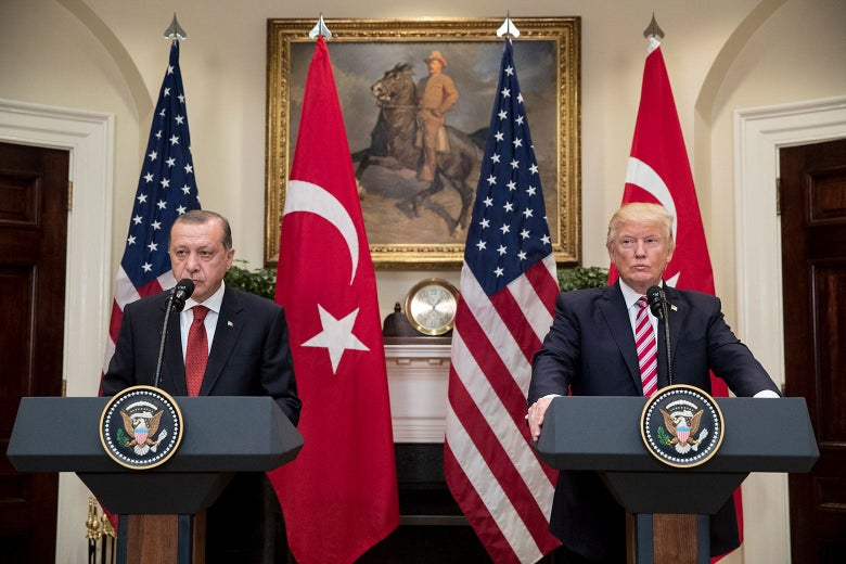 Turkish President Recep Tayyip Erdogan and U.S. President Donald Trump at the White House on May 16, 2017.