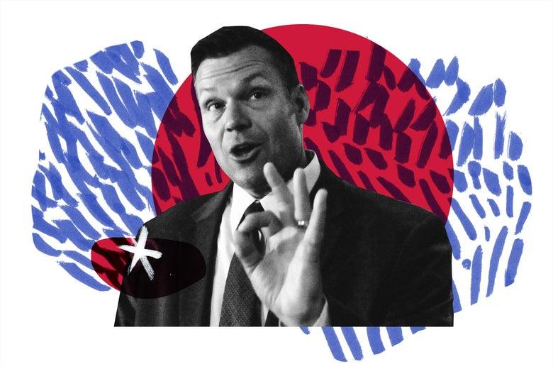 Photo illustration of Kansas gubernatorial candidate Kris Kobach.