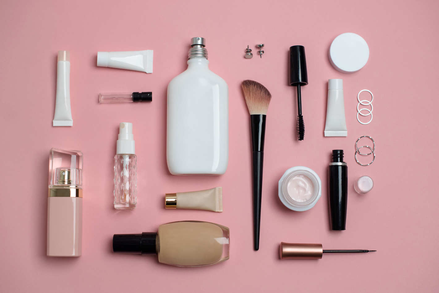 Various beauty products laid out.