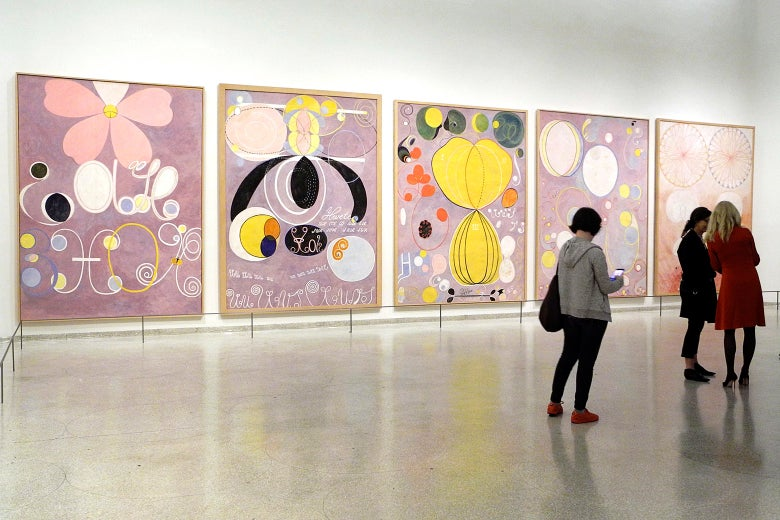 "Art by Swedish painter Hilma af Klint (1862-1944) hang at the Guggenheim Museum's ""Paintings for the Future."""