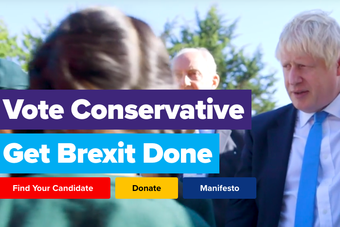 "The British Conservative Party website homepage with the text caption: ""Vote Conservative. Get Brexit Done."""