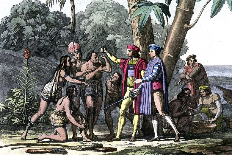 A racist drawing of Christopher Columbus meeting Native people.
