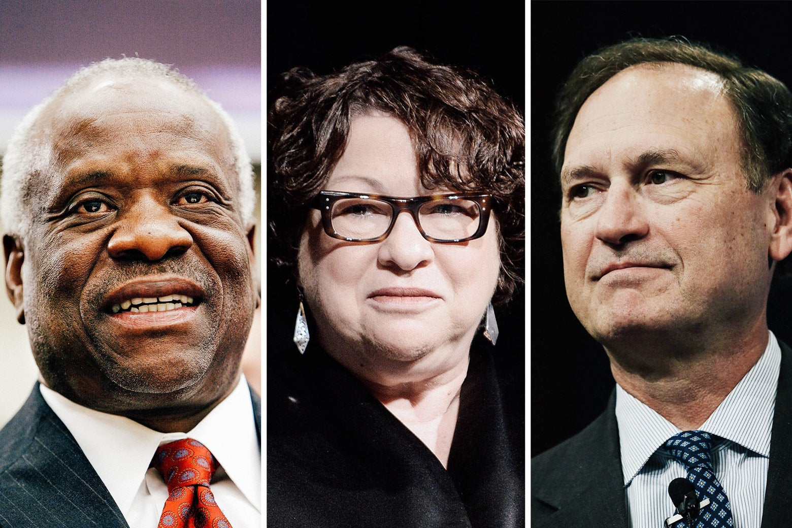 Supreme Court Justices Clarence Thomas, Sonia Sotomayor, and Samuel Alito.