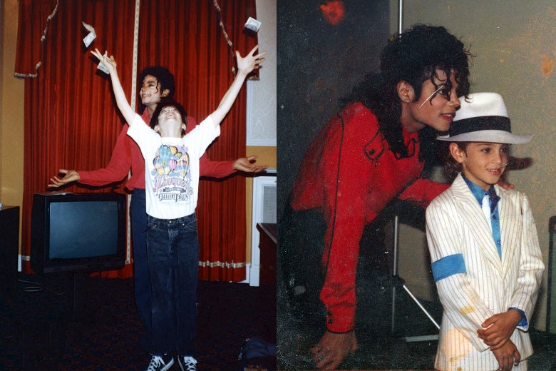 Michael Jackson with James Safechuck and Michael Jackson with Wade Robson.
