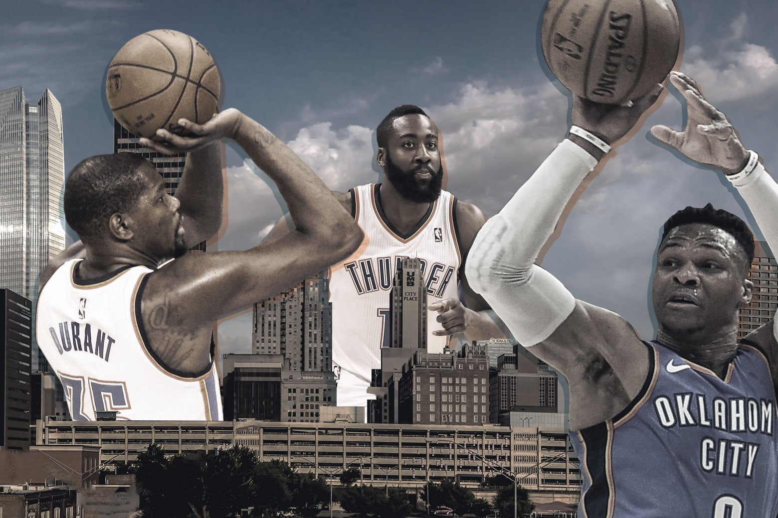 Oklahoma City Thunder players Russell Westbrook, Kevin Durant, and James Harden playing in the Oklahoma City skyline.