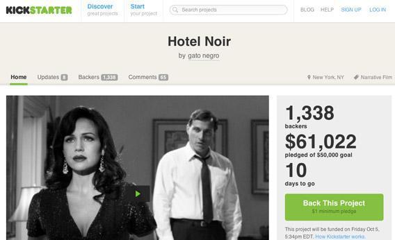 Hotel Noir Kickstarter page by Sebastian Gutierrez, a Venezuelan writer-director