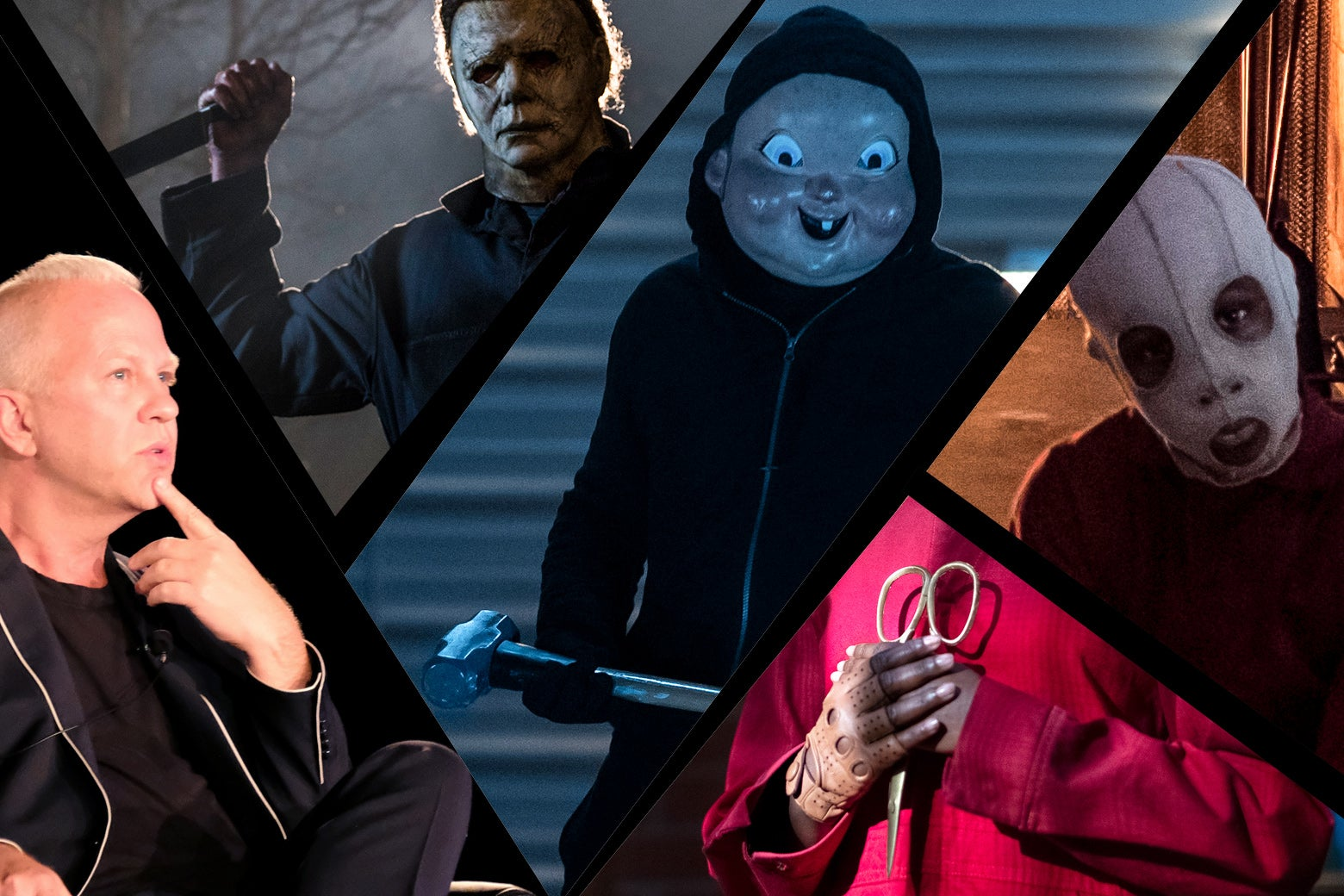 Photo illustration of Ryan Murphy, Michael Myers, the antagonist from Happy Death Day, and images from Us.