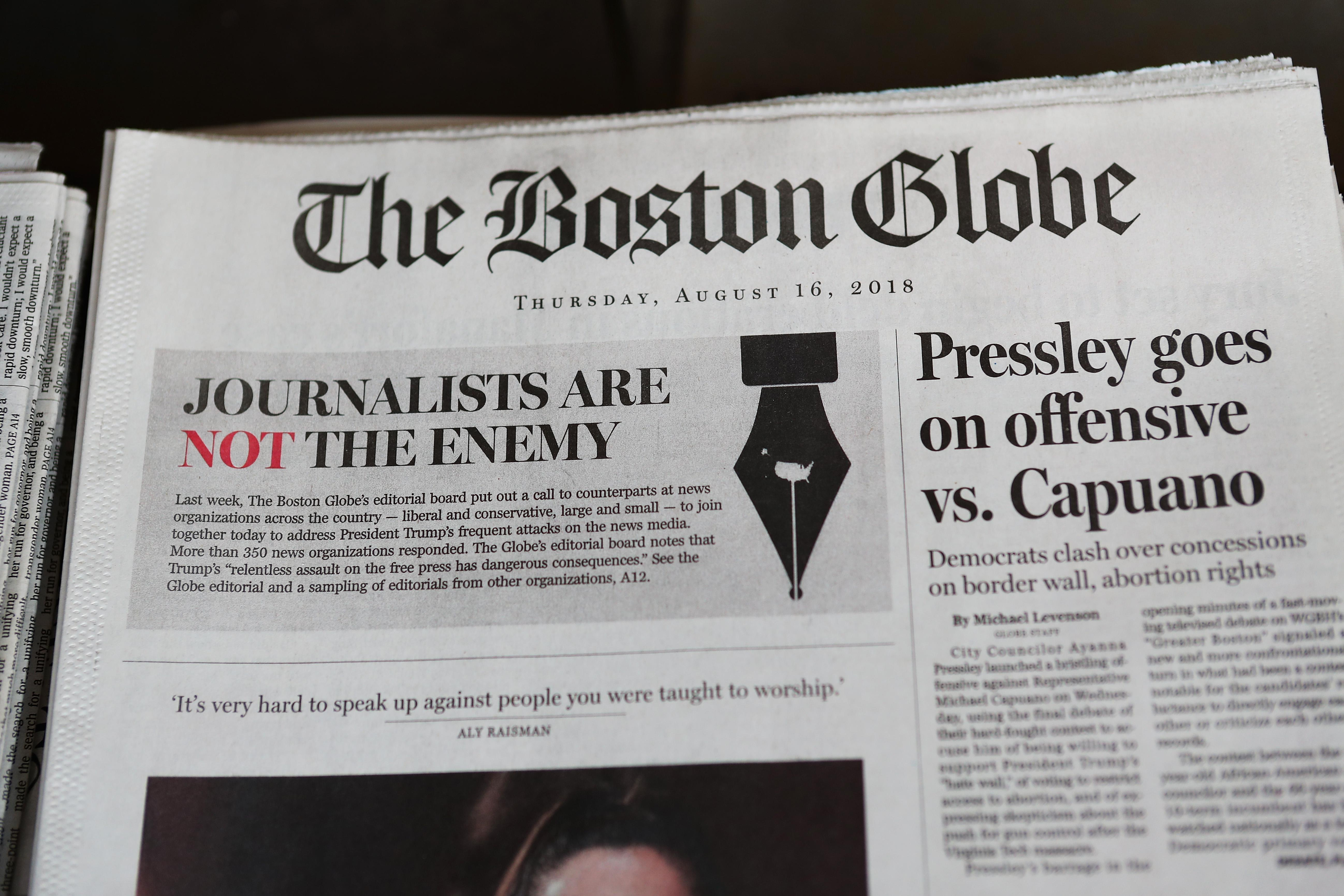 The front page of the Aug. 16 edition of the Boston Globe.